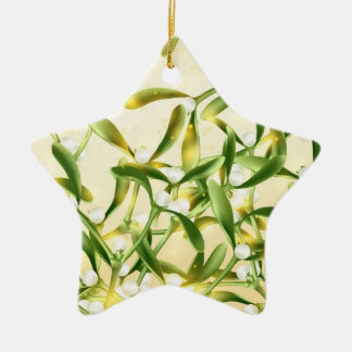 Magic Mistletoe Ceramic Star Ornament