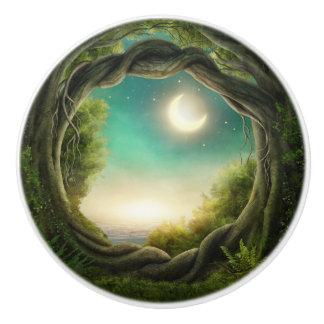 Magic Moon Tree Ceramic Knob