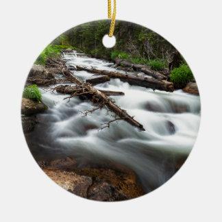 Magic Mountain Stream Ceramic Ornament