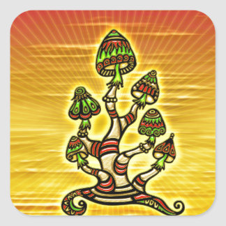 Magic Mushrooms - charms of mushrooms Square Sticker