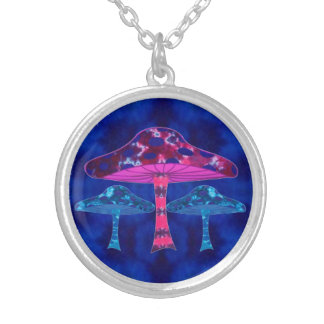Magic Mushrooms Silver Plated Necklace