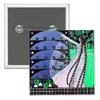 MAGIC OF THE SPRING bright blue black white green 15 Cm Square Badge