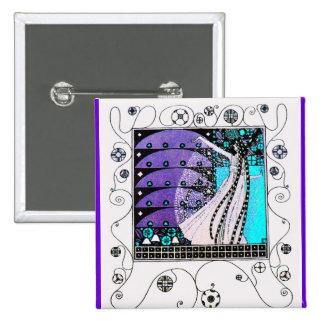 MAGIC OF THE SPRING bright blue black white purple 15 Cm Square Badge