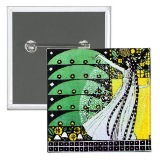 MAGIC OF THE SPRING bright green black  yellow 15 Cm Square Badge