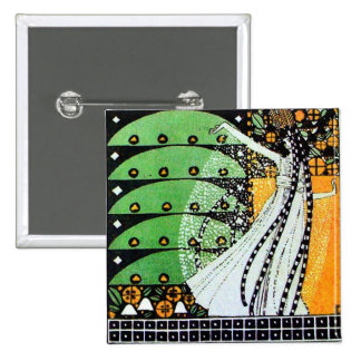 MAGIC OF THE SPRING bright green black yellow o 15 Cm Square Badge