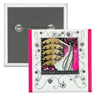 MAGIC OF THE SPRING bright pink black white brown 15 Cm Square Badge