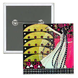 MAGIC OF THE SPRING bright pink black white yellow 15 Cm Square Badge