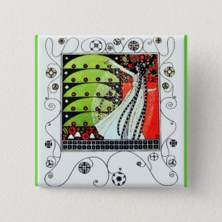 MAGIC OF THE SPRING bright red black white green 15 Cm Square Badge