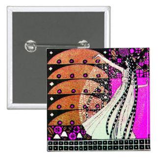 MAGIC OF THE SPRING bright violet  black  brown 15 Cm Square Badge