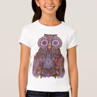Magic owl.Collage with lace and feathers T-Shirt