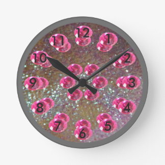 Magic Princess Girly Pink Jewels Sparkly Silver Round Clock