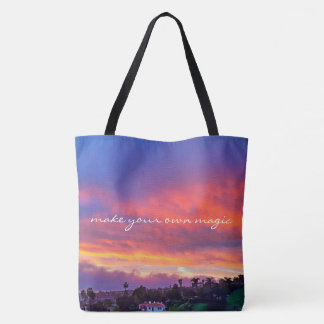 """Magic"" quote pink yellow and blue sunrise photo Tote Bag"