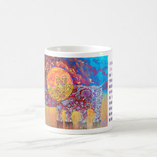 Magic rhyno in sunset coffee mug