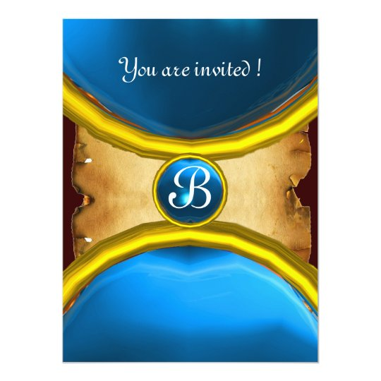 MAGIC RINGS ,MONOGRAM parchment gem blue 17 Cm X 22 Cm Invitation Card