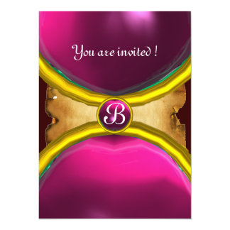 MAGIC RINGS ,MONOGRAM parchment gem pink 14 Cm X 19 Cm Invitation Card
