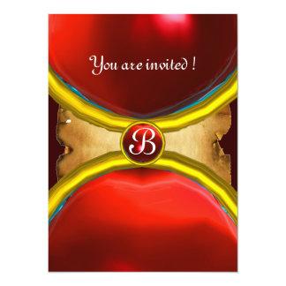 MAGIC RINGS ,MONOGRAM parchment gem red 14 Cm X 19 Cm Invitation Card