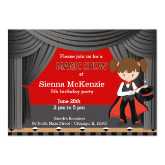 Magic Show birthday party 13 Cm X 18 Cm Invitation Card