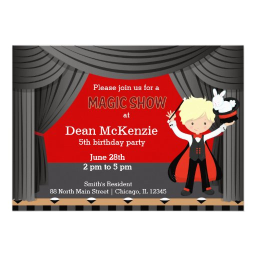 Magic Show birthday party Personalized Announcements