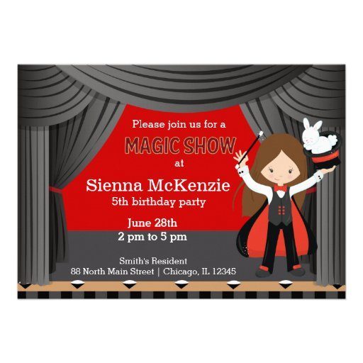Magic Show birthday party Custom Invites