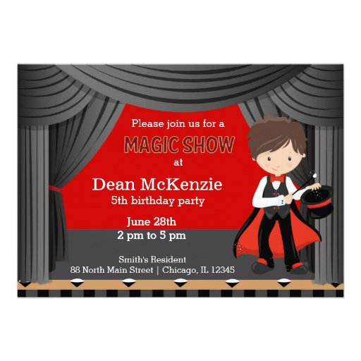 Magic Show birthday party Personalized Invite