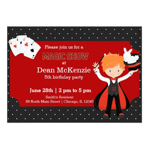 Magic Show birthday party Cards