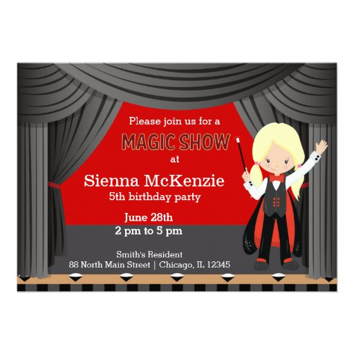 Magic Show birthday party Personalized Invitations