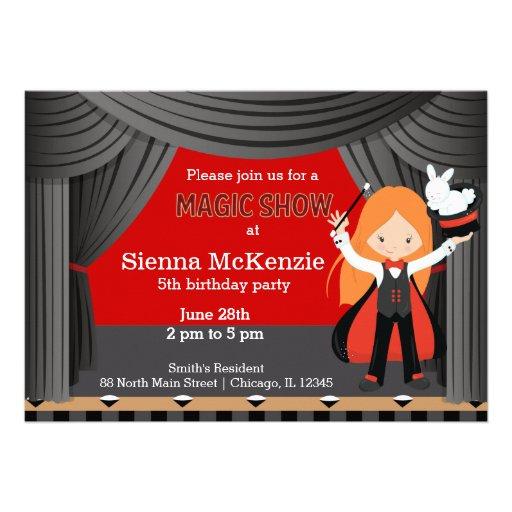 Magic Show birthday party Personalized Invitation