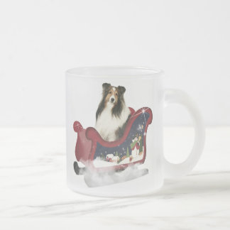 Magic Sleigh Sheltie Frosted Glass Coffee Mug