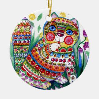 magic spring cat round ceramic decoration