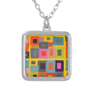 Magic Squares Abstract geometric art design Silver Plated Necklace