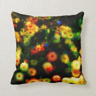 Magic Stylized Neon Flowers Throw Pillow