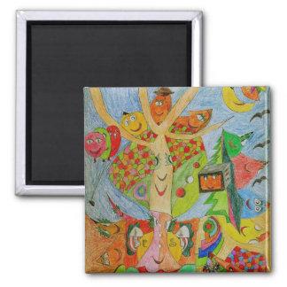 Magic Tree Square Magnet