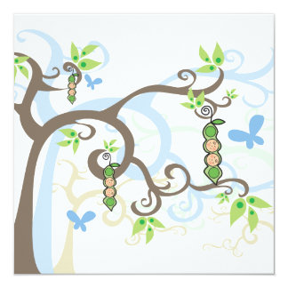Magic Trees Twin Boys Pea in Pod Baby Shower Card