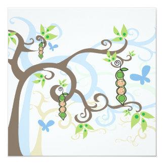 Magic Trees Twin Boys Pea in Pod Baby Shower 13 Cm X 13 Cm Square Invitation Card