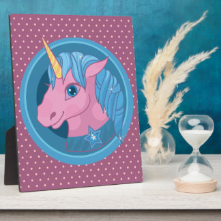 Magic Unicorn cartoon baby illustration Cute horse Display Plaque