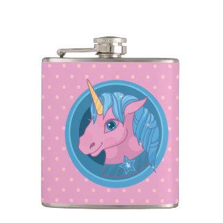 Magic Unicorn cartoon baby illustration Cute horse Hip Flask