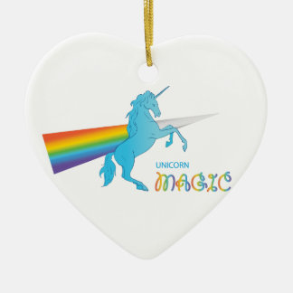 Magic Unicorn with rainbow Ceramic Heart Decoration