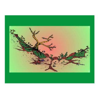 Magic Valley Daytime Art Postcard - Green, Pink