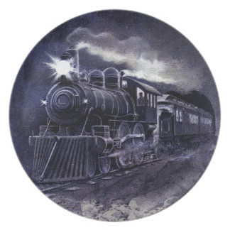 Magic Victorian Train Steam Engine Dinnerware