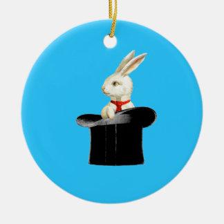 magic vintage top hat rabbit round ceramic decoration