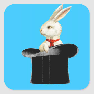 magic vintage top hat rabbit square sticker
