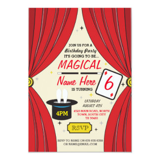 Magic Wand Magician Any Age Birthday Party Invite