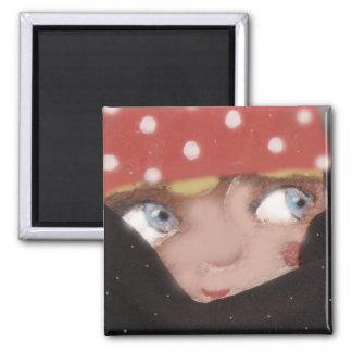 magic winter gnome art Square Magnet