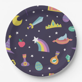 MAGIC WIZARD FAIRY TALE ELEMENTS blue background 9 Inch Paper Plate