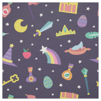 MAGIC WIZARD FAIRY TALE ELEMENTS NURSERY BLUE FABRIC