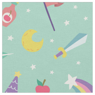 MAGIC WIZARD FAIRY TALE ELEMENTS NURSERY MINT FABRIC