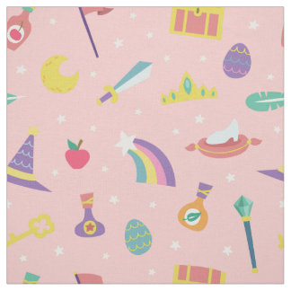 MAGIC WIZARD FAIRY TALE ELEMENTS NURSERY PINK FABRIC