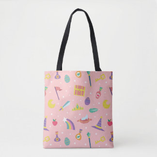 MAGIC WIZARD FAIRY TALE ELEMENTS pink background Tote Bag
