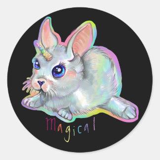Magical baby bunny-corn classic round sticker