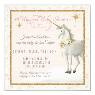 Magical Baby Shower Unicorn Cloud Star Boho Floral Card